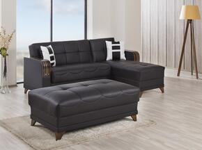 ALMSECOTTZBLK Almira Sectional Sleeper Sofa and Ottoman with Matching Pillows, Tufted Detailing, Tapered Legs and Upholstered in Zen Black PU-Leatherette
