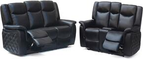 Carly 628-BL-S-L 2 Piece Living Room Set with Reclining Sofa and Reclining Loveseat in Black