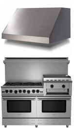 "2 Piece Kitchen Package With RNB606GHCV2NG 60"" Gas Freestanding Range and BSPL60240TS 60"" Wall Mount Range Hood In Stainless Steel"