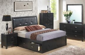 G1250BKSBDMN 4 Piece Set including King Size Storage Bed, Dresser, Mirror and Nightstand in Black