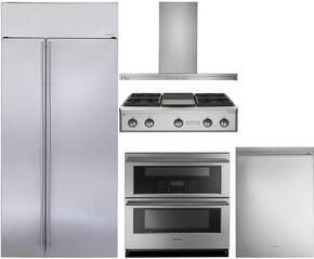 "5-Piece Stainless Steel Kitchen Package with ZISS420NKSS 42"" Side by Side Refrigerator, ZGU364NDPSS 36"" Gas Rangetop, ZV800SJSS 36"" Wall Mount Hood, ZET1DJSS 30"" Double Wall Oven, and ZDT915SSJSS 24"" Fully Integrated Dishwasher"