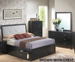 G1250FKSB2DM 3 Piece Set including King Size Storage Bed, Dresser and Mirror in Black