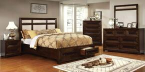 Orlaith Collection CM7697CKBEDSET 5 PC Bedroom Set with California King Size Panel Bed + Dresser + Mirror + Chest + Nightstand in Walnut Finish