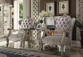 Versailles 52087CT 3 PC Living Room Set with 2 Accent Chairs + End Table in Bone White Finish