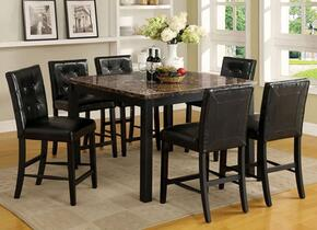 Boulder II Collection CM3870PT6PC 7-Piece Dining Room Set with Square Counter Height Table and 6 Counter Height Side Chairs in Black Finish