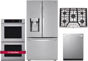 "4 Piece Kitchen Package With LCG3011ST 30"" Gas Cooktop, LWD3063ST 30"" Electric Double Wall Oven, LFXS30766S 36"" French Door Refrigerator and LDF8874ST 24"" Built In Dishwasher in Stainless Steel"