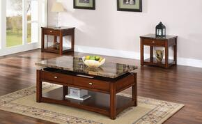 Jas 80020CE 3 PC Living Room Table Set with Coffee Table + 2 End Tables in Cherry Finish