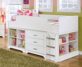 Lulu B10268T17SET3 Set with Twin Loft Bed, Bin Storage and Drawer Storage in White