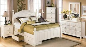 Cottage Retreat Full Bedroom Set with Poster Bed, Dresser, Nightstand and Mirror in Cream