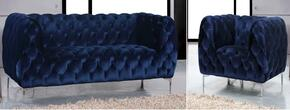 Mercer Collection 646-NAVY-S-C 2 Piece Living Room Set with Sofa and Chair in Navy