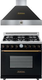 "Deco 2-Piece Black with Brass Accent Kitchen Package with RD361GCNB 36"" Freestanding Gas Range and HD361ACNB 36"" Wall Mount Range Hood"