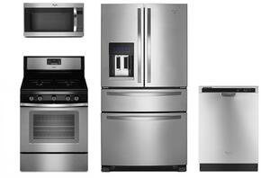 "4 Piece Kitchen package With WFG530S0ES 30"" Gas Range, WMH32519FS Over The Range Microwave, WRX735SDBM 36"" French Door Refrigerator and WDF520PADM 24"" Built In Dishwasher In Stainless Steel"
