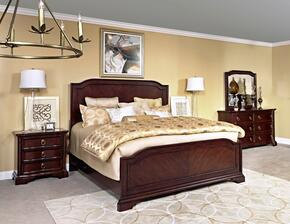 Elaina 4640KPBNDM 4-Piece Bedroom Set with King Panel Bed, Nightstand, Dresser and Mirror in Rustic Cherry Finish