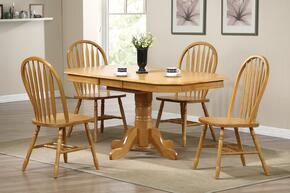 Sunset Selections Collection DLU-TCP3660-820-LO5PC 5 Piece Pedestal Extension Dining Set with Oval Table + 4 Arrowback Chairs