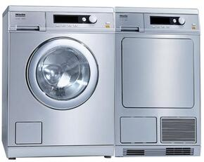 """Front Load Little Giant Series Laundry Pair with PW6065SS 24"""" Washer and PT7135CSS 24"""" Dryer in Stainless Steel"""