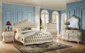 Chantelle 23537EK5PC Bedroom Set with Eastern King Size Bed + Dresser + Mirror + Chest + Nightstand in Pearl White Color