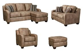 Trenton Collection MI-9280QSSLCO-DUNE 4-Piece Living Room Set with Queen Sofa Chaise Sleeper, Loveseat, Armchair and Ottoman in Dune
