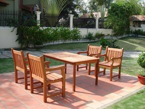 V98SET8 Outdoor Wood Balthazar Rectangular Table and  4 V209 Outdoor Wood Armchairs
