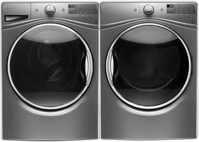 """Chrome Shadow WFW9290FC 27"""" Front Load Washer with WED92HEFC 27"""" Electric Dryer"""