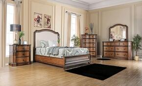 Emmaline Collection CM7831FCKBEDSET 5 PC Bedroom Set with California King Size Panel Bed + Dresser + Mirror + Chest + Nightstand in Warm Chestnut Finish