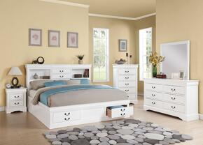 Louis Philippe III Collection 24490Q5PC Bedroom Set with Queen Size Bed + Dresser + Mirror + Chest + Nightstand in White Color