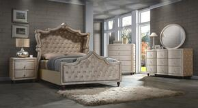 Diamond DIAMONDCANOPYQSET 5 PC Bedroom Set with Queen Size Canopy Bed + Dresser + Mirror + Chest + Nightstand in Golden Beige Color