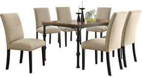Vriel Collection 71580TSET 7 PC Dining Room Set with Dining Table + 6 Tan Side Chairs in Dark Oak and Black Finish