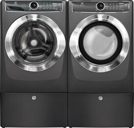 "Titanium Front Load Laundry Pair with EFLS617STT 27"" Washer, EFMG617STT 27"" Gas Dryer and 2 EPWD157STT Pedestals"