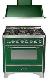 "2-Piece Emerald Green Kitchen Package with UM76DVGGVSX 30"" Freestanding Gas Range (Chrome Trim, 5 Burners, Timer) and UAM76VS 30"" Wall Mount Range Hood"