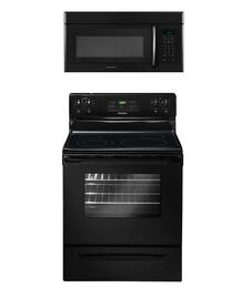 """2-Piece Black Kitchen Package with FFEF3018LB 30"""" Freestanding Electric Range and FFMV162LB 30"""" Over-the-Range Microwave"""