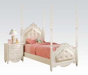 Pearl 11000TN 2 PC Bedroom Set with Twin Bed + Nightstand in Pearl White Finish