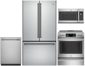 "4-Piece Stainless Steel Kitchen Package with CWE23SSHSS 36"" French Door Refrigerator, CHS985SELSS 30"" Slide In Electric Range, CSA1201RSS 30"" Over the Range Hood, and CDT835SSJSS 24"" Fully Integrated Dishwasher"