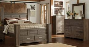 Juararo Queen Bedroom Set with Poster Storage Bed, Dresser, Mirror and Chest in Dark Brown