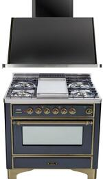 "2-Piece Matte Graphite Kitchen Package with UM90FDVGGMY 36"" Freestanding Gas Range (Oiled Bronze Trim, 4 Burners, Griddle) and UAM90M 36"" Wall Mount Range Hood"