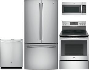 "4-Piece Stainless Steel Kitchen Package with GNE25JSKSS 33"" French-Door Refrigerator, JB700SJSS 30"" Freestanding Electric Range, GDT695SSJSS 24"" Fully Integrated Dishwasher and JVM7195SKSS 30"" Over-the-Range Microwave"