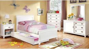 Colin Collection CM7909WHTBDMCN 5-Piece Bedroom Set with Twin Bed, Dresser, Mirror, Chest, and Nightstand in White Finish