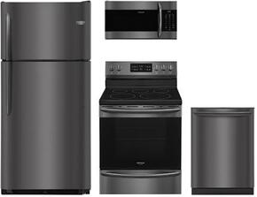 "4-Piece Kitchen Package with FGTR1842TD 30"" Freestanding Top Freezer Refrigerator, FGEF3036TD 24"" Electric Freestanding Range , FGMV176NTD 30"" Over The Range Microwave oven and FGID2466QD 24"" Built in Dishwasher in Black Stainless Stee"