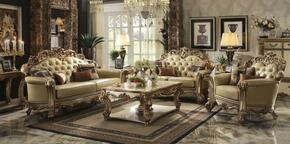 Vendome 53000SLCT 6 PC Living Room Set with Sofa + Loveseat + Chair + Coffee Table + 2 End Tables in Gold Patina Finish