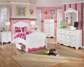 Exquisite Twin Bedroom Set with Sleigh Bed with Underbed Drawers, Dresser, Mirror, Nightstand and Chest in White
