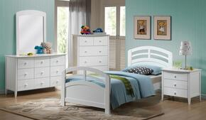 San Marino 19150TDMCN 5 PC Bedroom Set with Twin Bed + Dresser + Mirror + Chest + Nightstand in White Finish