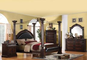 Roman Empire Collection 19333EK4PCSET Bedroom Set with Eastern King Size Canopy Bed + Dresser + Mirror + Nightstand in Dark Cherry Finish