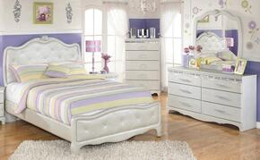 Zarollina Twin Bedroom Set with Upholstered Bed, Dresser, Mirror and Chest in Silver
