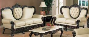 701IVORY2SET Two Piece Traditional Livingroom Set, Sofa + Loveseat with Genuine Leather Upholstery in Ivory