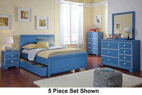 Bronilly Full Bedroom Set with Panel Storage Bed, Dresser and Mirror in Blue