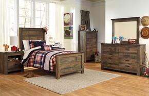 Trinell Twin Bedroom Set with Panel Bed, Dresser, Mirror, Nightstand and Chest in Brown