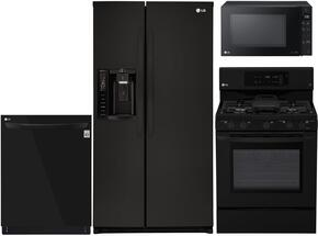 """4-Piece Kitchen Package with LSXS26326B 33"""" Side by Side Refrigerator, LRG3193SB 30"""" Freestanding Gas Range, LMC1375SB 22"""" Countertop Microwave, and LDP6797BB 24"""" Built In Fully Integrated Dishwasher in Black"""