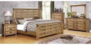 Avantgarde Collection CM7448KBDMCN 5-Piece Bedroom Set with King Bed, Dresser, Mirror, Chest and Nightstand in Weathered Elm