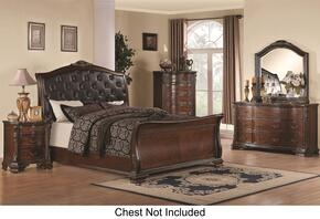 Maddison 202261KWDMN 4-Piece Bedroom Set with California King Sleigh Bed, Dresser, Mirror and Nightstand in Cappuccino Finish