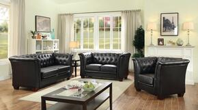 G323SET 3 PC Living Room Set with Sofa + Loveseat + Armchair in Black Color