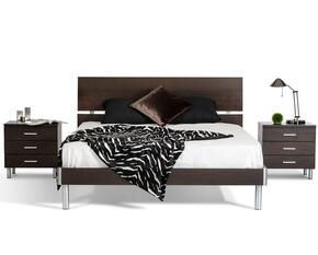 VGDEB1002-WGEFN Modrest Bravo Full Size Bed + 2 Nightstands with Brushed Silver Metal Accents in Wenge Finish